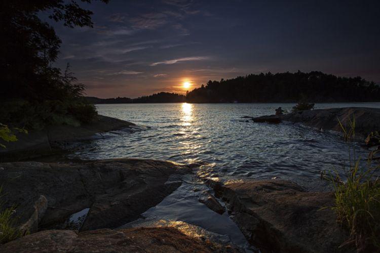lake forest sunset wallpaper