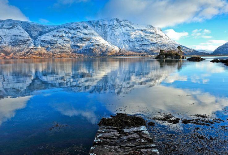 reflection lake mountains wallpaper