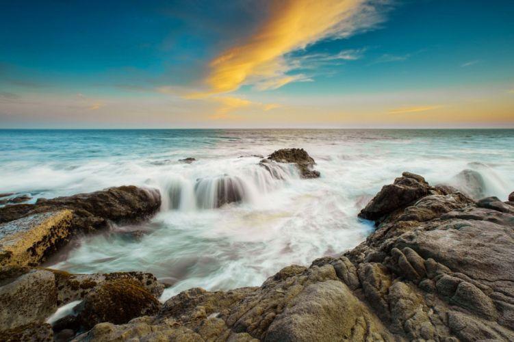 landscape sea sky stones wallpaper