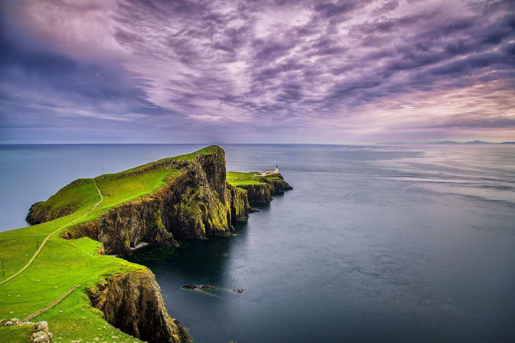 landscape nature sea rocks sky clouds lighthouse Cape Point Nist Scotland wallpaper