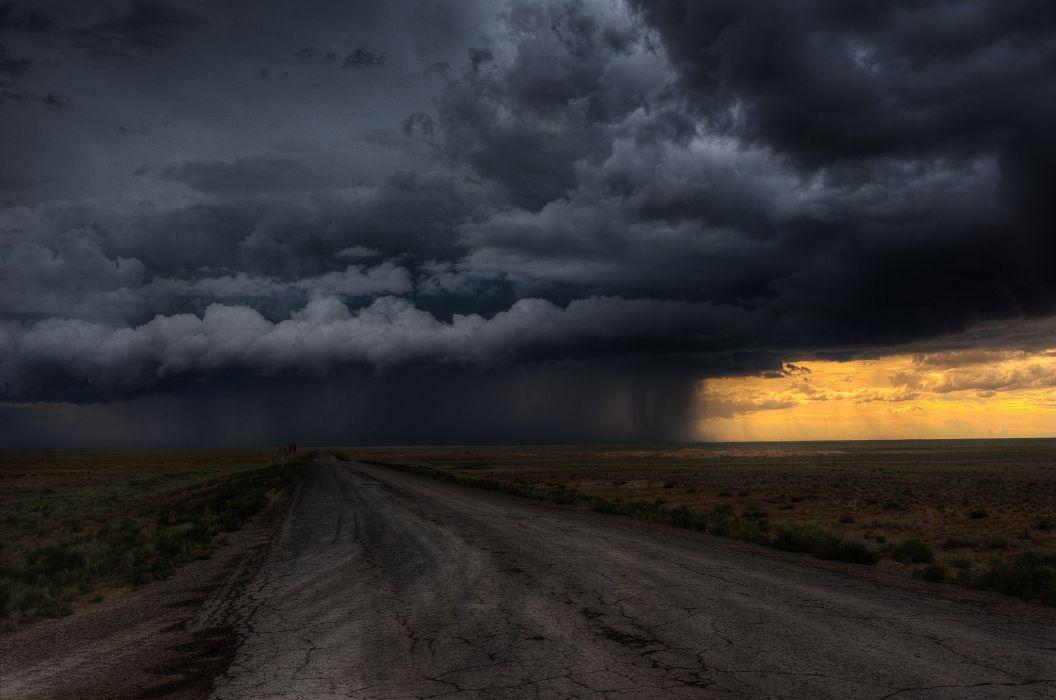 road clouds field storm rain sky wallpaper