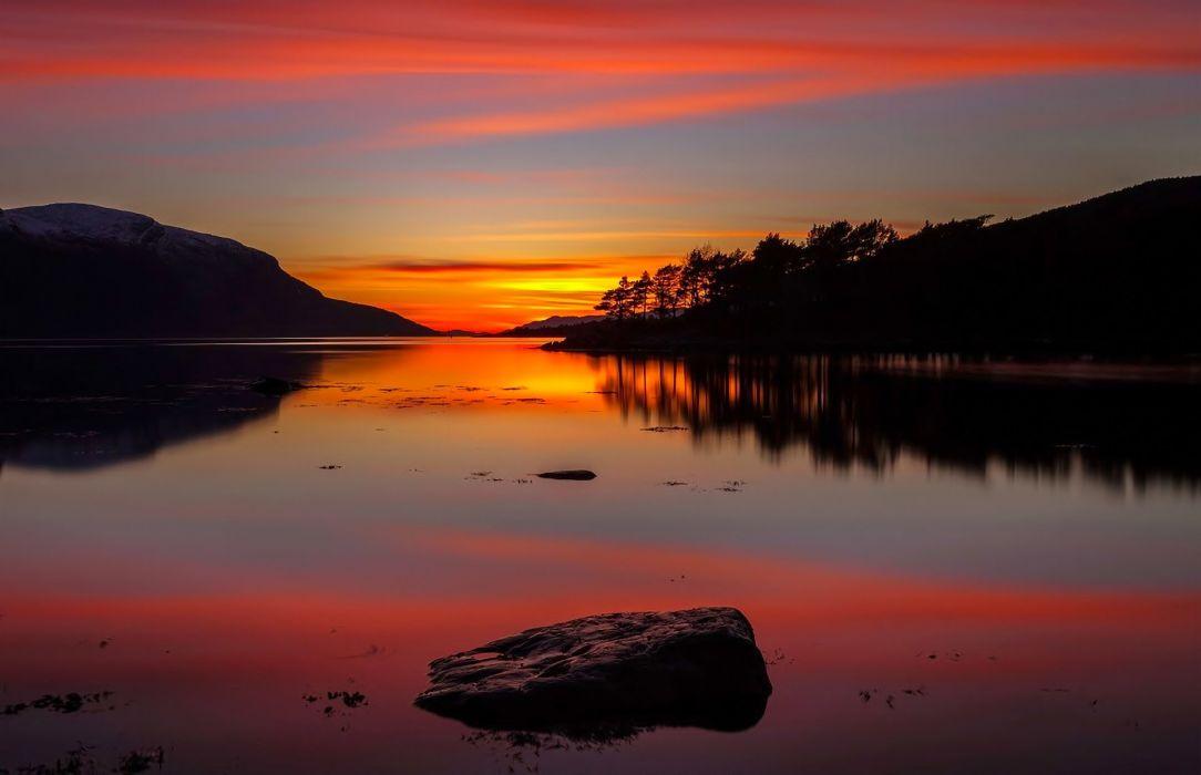 landscape nature sunset reflection beauty lake wallpaper