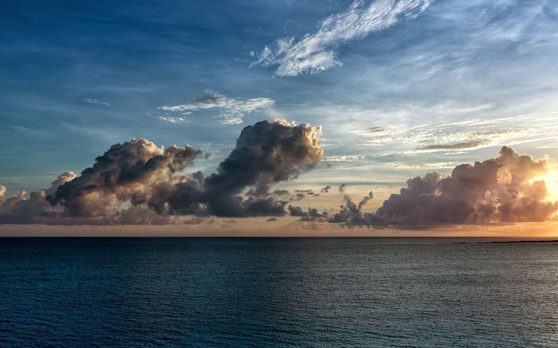 clouds sky waves sea wallpaper