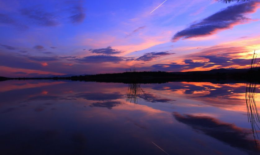 reflection sunset evening lake wallpaper