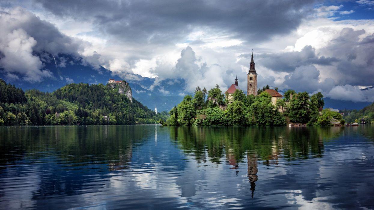 slovenia nature lake bled church cathedral wallpaper