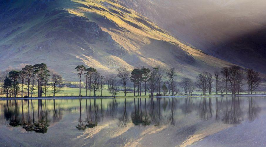 mountains reflection lake trees wallpaper
