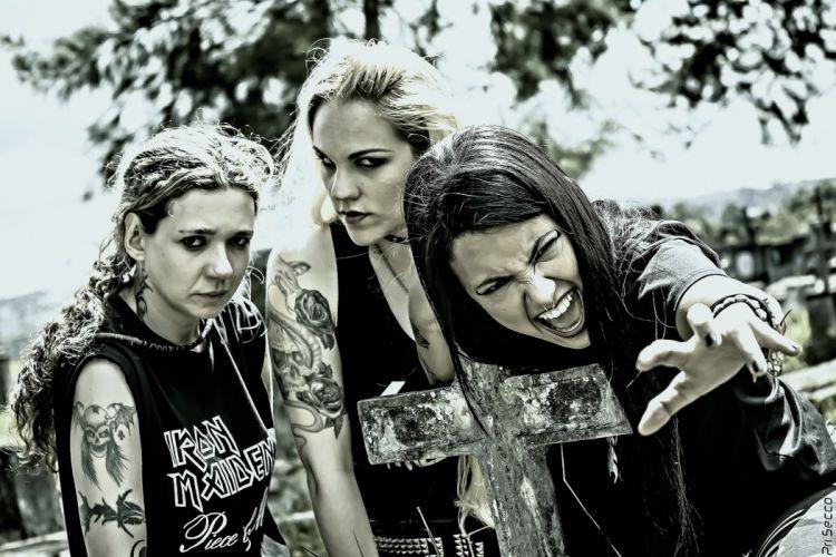 NERVOSA thrash metal heavy girl tattoo rock brazil babe dark cross wallpaper