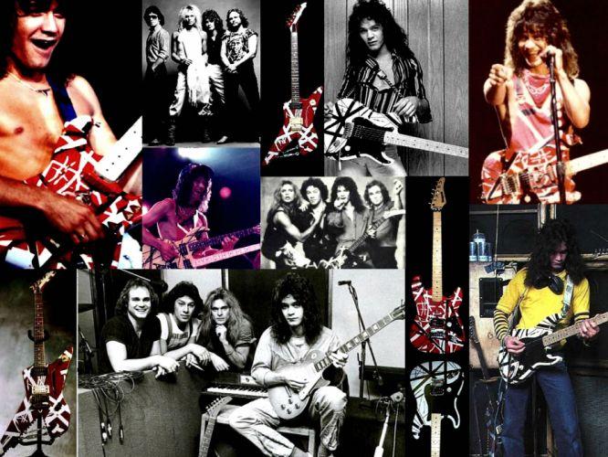 VAN HALEN hard rock heavy metal classic guitar collage wallpaper