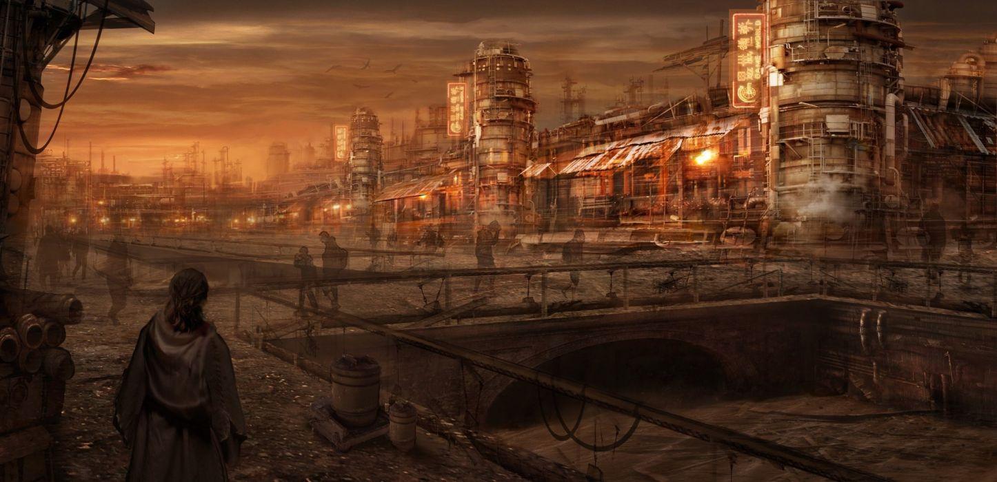 alex (artist) building city landscape original scenic wallpaper