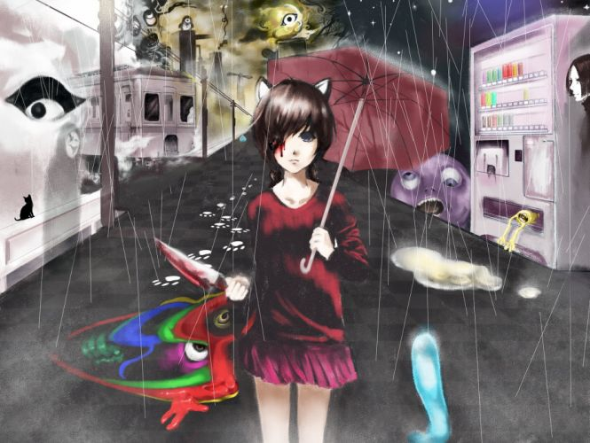 animal ears blood kasei-san knife madotsuki rain rajiwo sekomumasada sensei uboa umbrella water yume nikki wallpaper