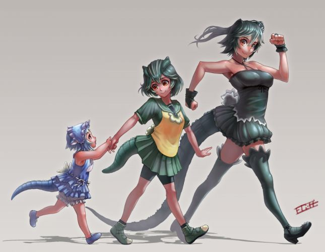 anthropomorphism bike shorts blue hair brown eyes dress gamerag godzilla green hair short hair shorts tail wallpaper