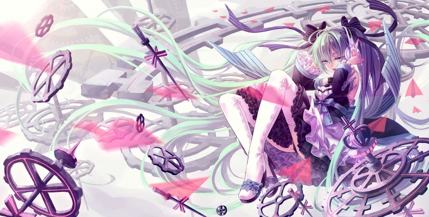 aqua eyes aqua hair boots bow cross dress hatsune miku headphones lolita fashion long hair maple (maplehy) ribbons thighhighs twintails vocaloid wallpaper