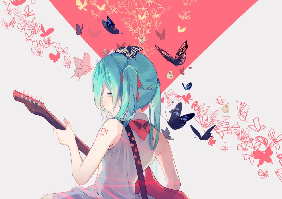 aqua eyes aqua hair butterfly guitar hatsune miku instrument ryuutsuki basetsu twintails vocaloid wallpaper