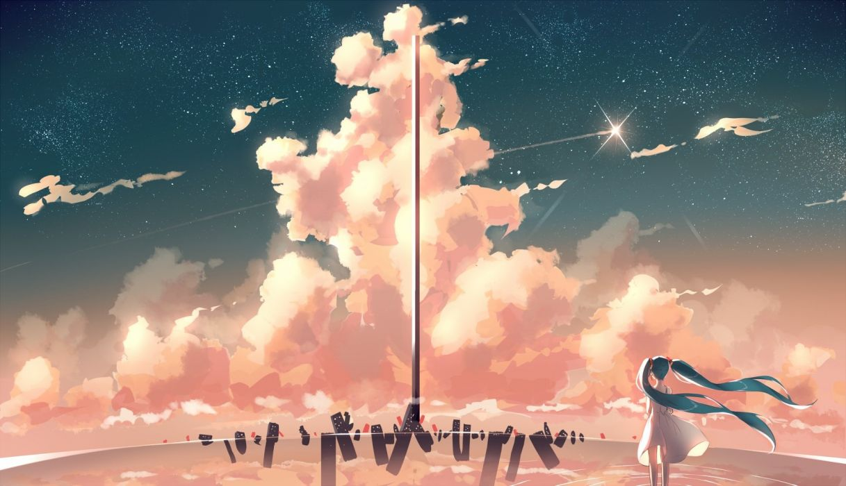 aqua hair clouds dress hatsune miku original phantania scenic sky stars twintails water wallpaper
