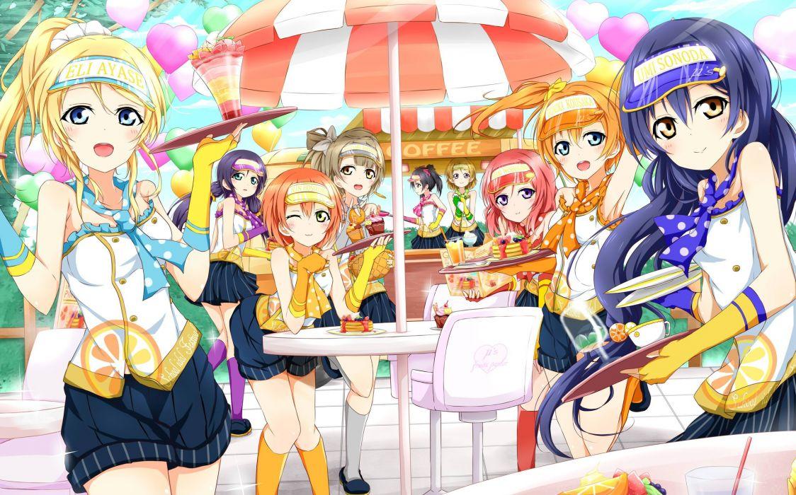 ayase eri food hat hoshizora rin karamoneeze koizumi hanayo kousaka honoka minami kotori nishikino maki sonoda umi toujou nozomi yazawa nico wallpaper