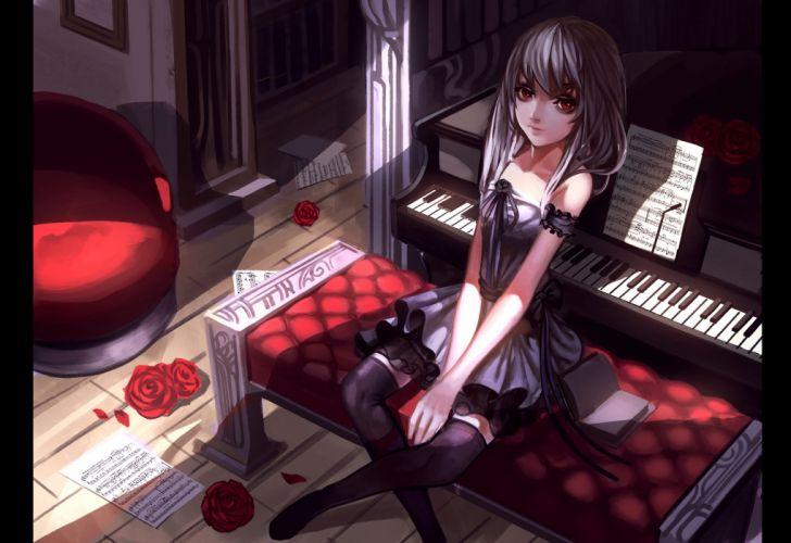 baka (mh6516620) book dress gray hair instrument long hair music original paper piano red eyes thighhighs wallpaper