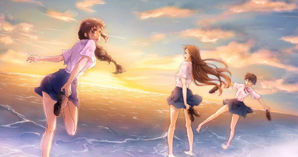 barefoot brown eyes brown hair clouds conone long hair original seifuku short hair skirt sky sunset water wallpaper