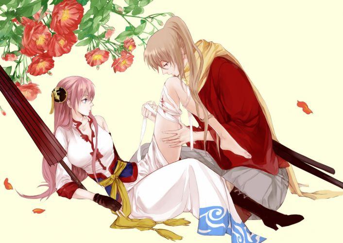 bandage blood chinese dress gintama kagura (gintama) lolibushi (loli54) okita sougo umbrella wallpaper