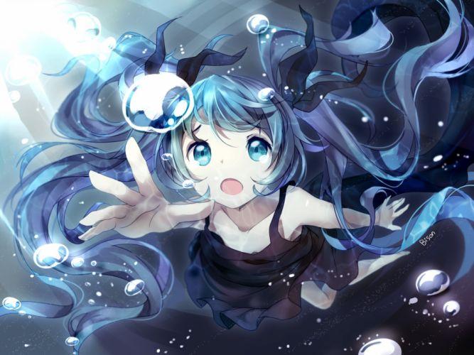 bisonbison blue eyes blue hair bubbles deep-sea girl (vocaloid) dress hatsune miku long hair twintails vocaloid wallpaper
