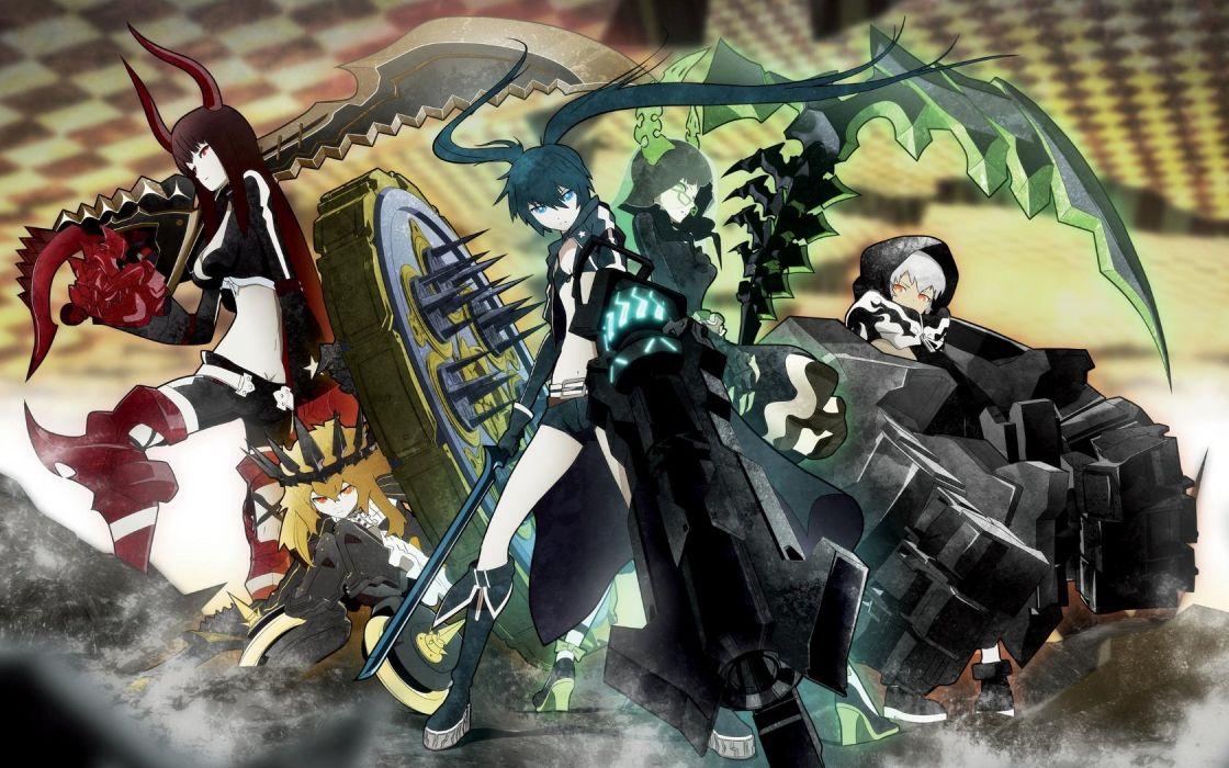 black rock shooter chariot irino saya koutari yuu kuroi mato takanashi yomi wallpaper