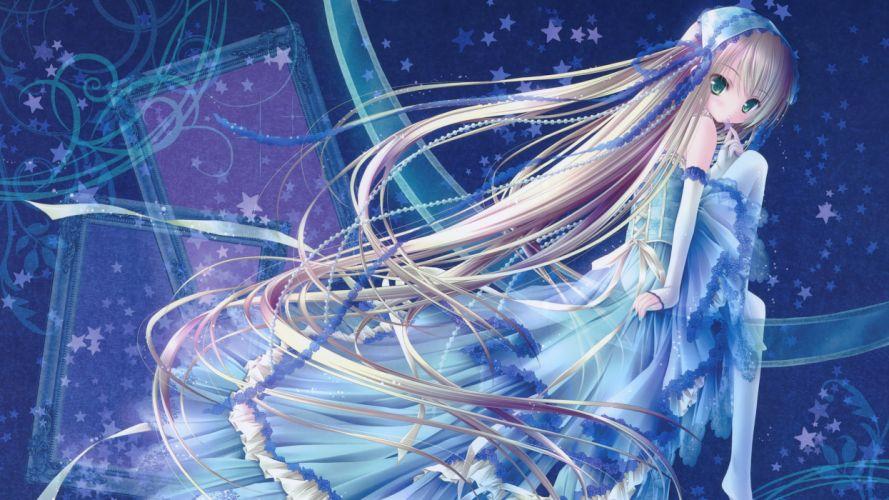 blonde hair blue blush dress elbow gloves green eyes loli lolita fashion long hair see through stars thighhighs tinkle wallpaper