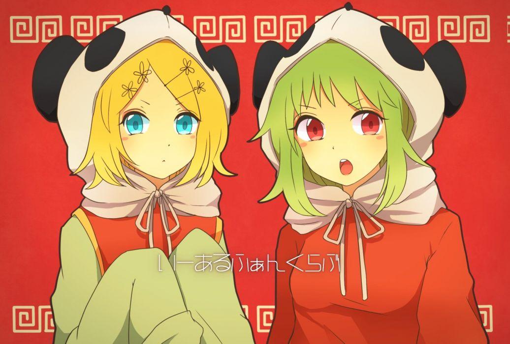 blonde hair blue eyes chizuru (ambient) green hair gumi kagamine rin panda red eyes tagme vocaloid wallpaper