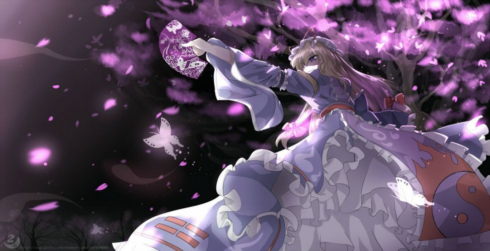 blonde hair butterfly dress fan hat long hair purple eyes sen ya touhou tree watermark yakumo yukari wallpaper