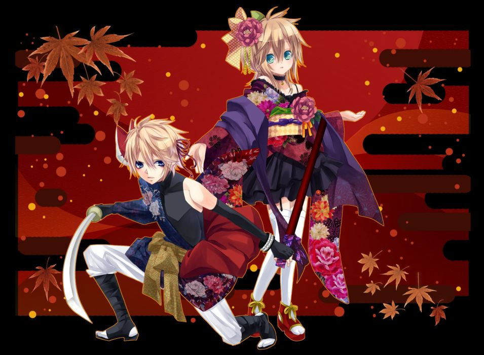 blonde hair blue eyes choker japanese clothes kagamine len kagamine rin katana male stockings sword uutan vocaloid weapon wallpaper