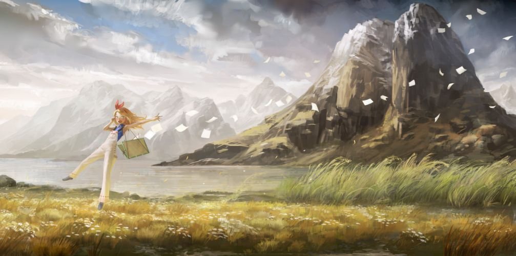 blonde hair clouds grass landscape long hair nababa original scenic sky water wallpaper