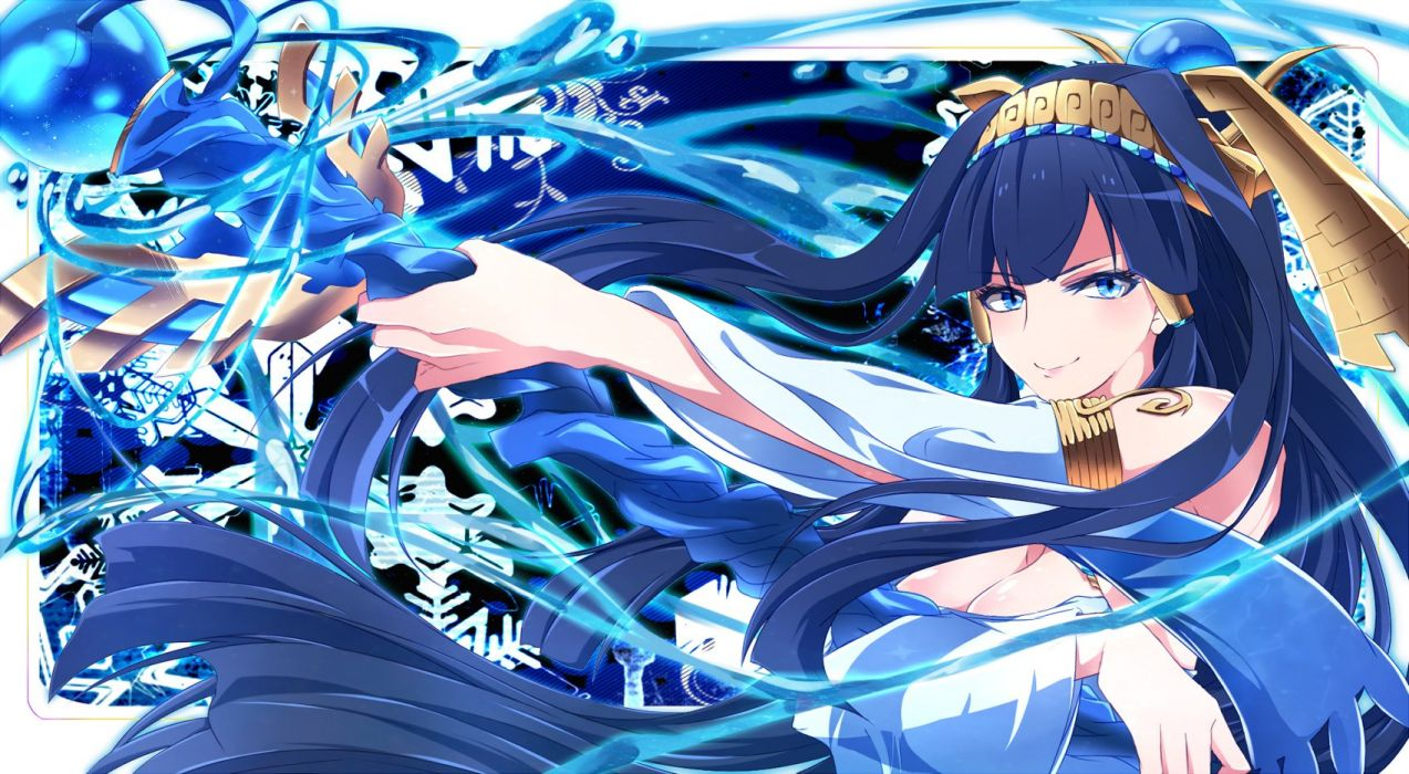 blue eyes blue hair breasts cleavage isis (p&d) lailu long hair puzzle & dragons staff wallpaper