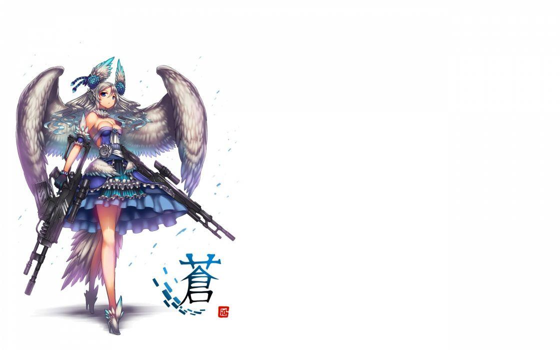 blue eyes breasts cleavage gia gray hair gun long hair original weapon wings wallpaper