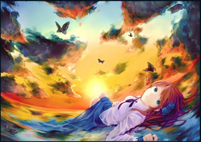 blue eyes brown hair butterfly clouds flowers gensou aporo long hair original rose scenic skirt sky sunset water wallpaper