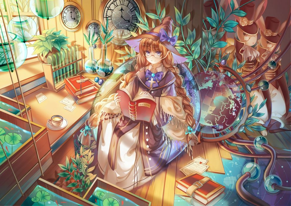 blue eyes book braids brown hair bunny glasses hat instocklee original paper water witch hat wallpaper