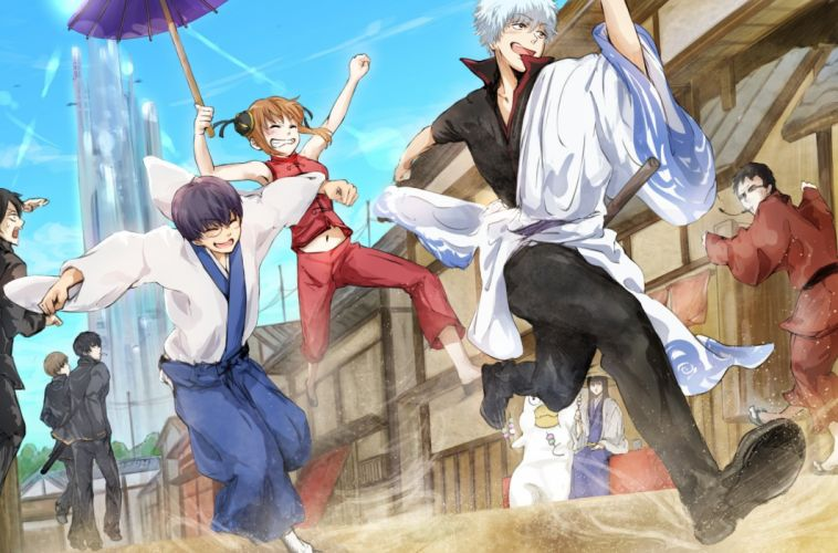 brown hair cigarette conone gintama glasses group hasegawa taizo katsura kotaro male navel okita sougo short hair umbrella uniform white hair wallpaper