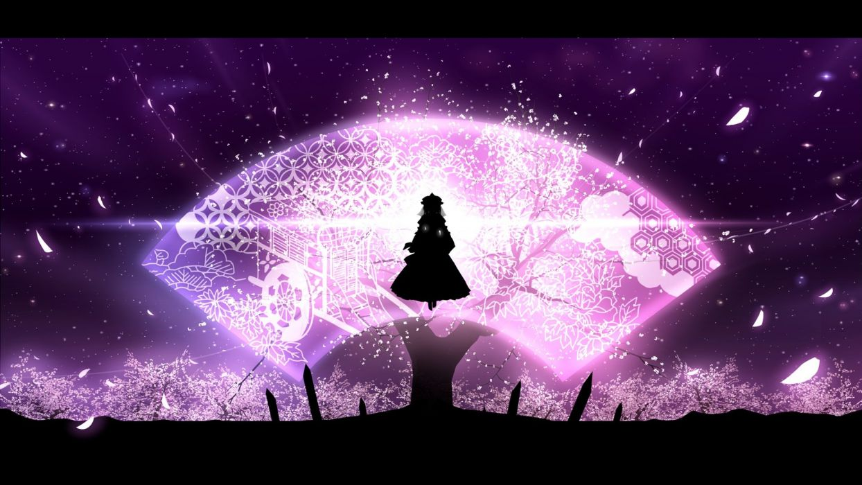 cherry blossoms dress hat minust night petals saigyouji yuyuko silhouette sky stars touhou tree wallpaper