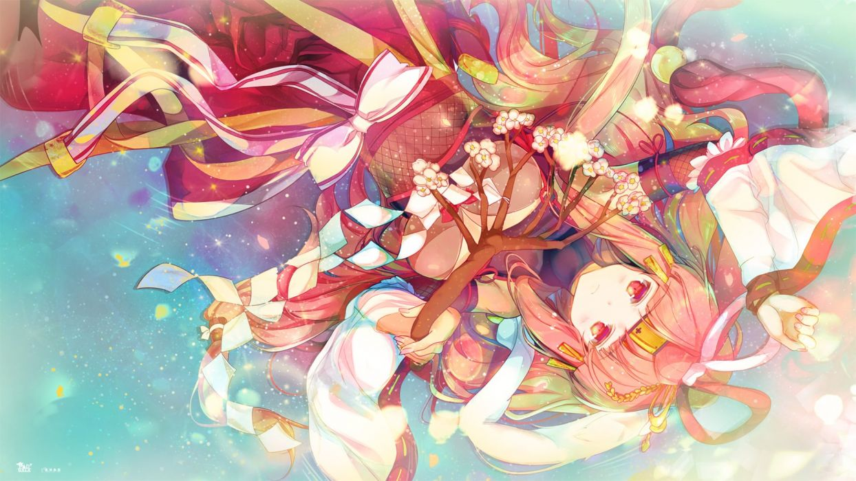 chiyome (p&d) heco (mama) japanese clothes miko puzzle & dragons wallpaper