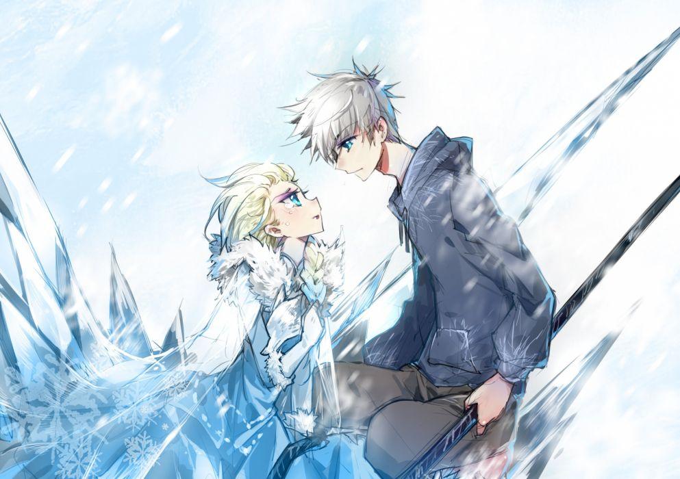 frozen rise guardians disney cross-over crossover     f wallpaper