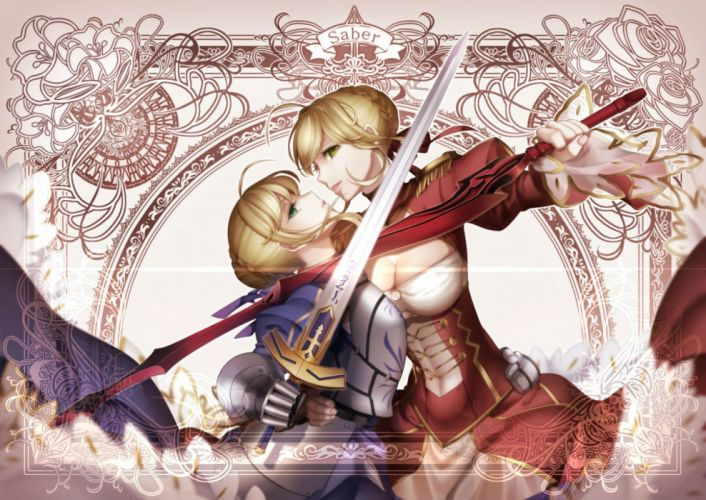 girls arkray armor blonde hair breasts cleavage dress fate extra fate stay night green eyes saber saber extra sword weapon wallpaper