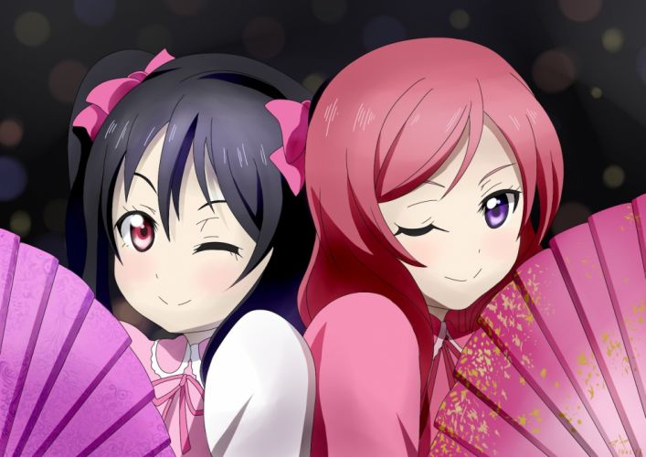 girls black hair fan love live! school idol project nishikino maki purple eyes red eyes red hair tagme (artist) twintails yazawa nico wallpaper