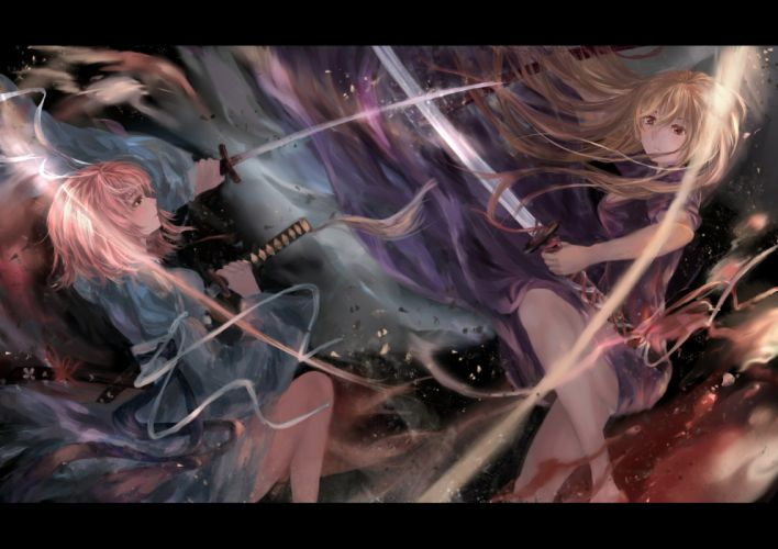 girls blonde hair brown eyes dress katana long hair pink hair saigyouji yuyuko short hair sword touhou trick (sedaren) weapon yakumo yukari wallpaper