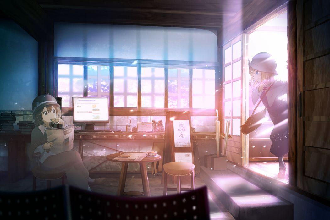 girls computer hat maribel han paper shinta (hmmuk) touhou usami renko wallpaper