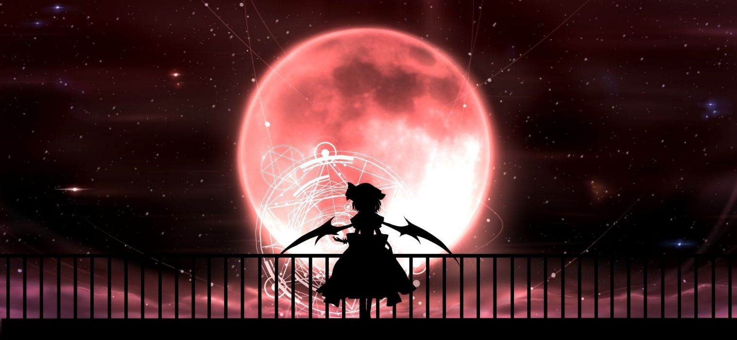 hat magic minust moon night remilia scarlet short hair silhouette skirt sky stars touhou wings wallpaper