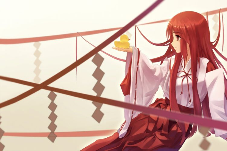 japanese clothes long hair miko original red eyes red hair ribbons xiaoyin li wallpaper