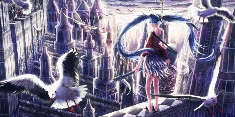 Vocaloid Hatsune Miku Birds Gull Guitar Hair Anime Girls wallpaper