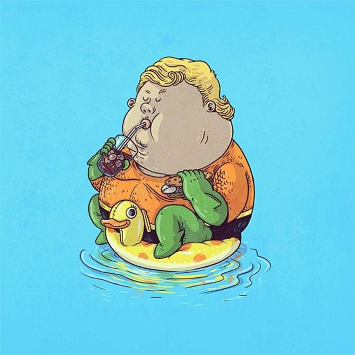 Aquaman Fat Superhero Dc-comics Comics Cartoon Wallpaper