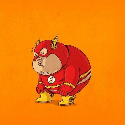 flash fat superhero dc-comics comics cartoon wallpaper