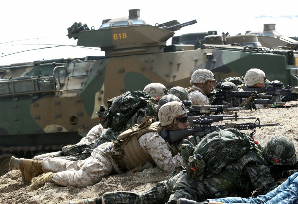 2014 South-Korea troops soldiers military army rifle armored vehicle 4000x2748 wallpaper