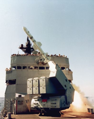 USS Badger Launching Missile warship wepon Ship Navy Harpoon 2365x3000 wallpaper
