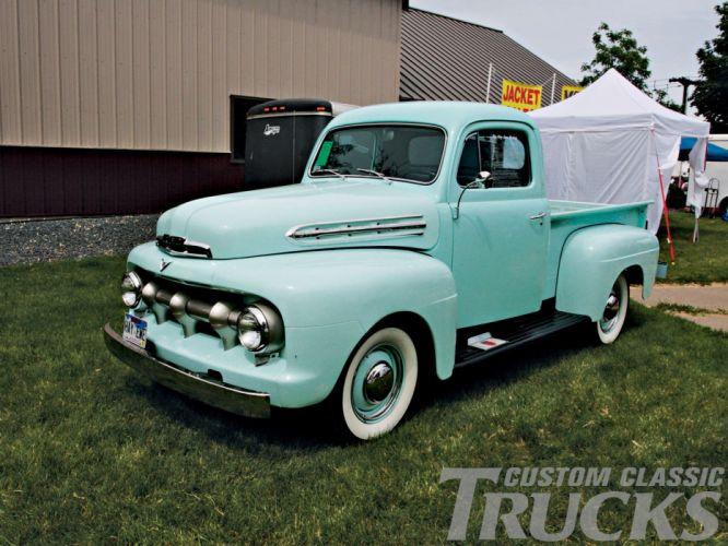 1951 Ford F100 pickup retro f-1 hot rod rods retro ef wallpaper