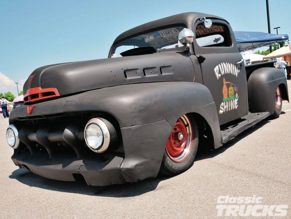 1951 Ford F100 pickup retro f-1 hot rod rods retro  t wallpaper